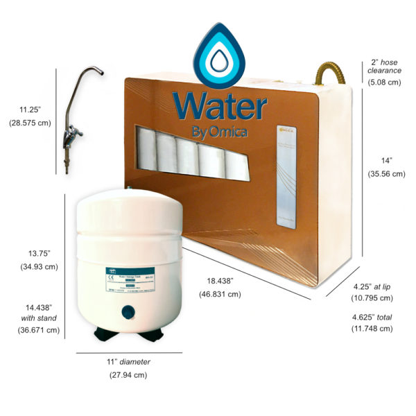 Omica Organics 12 Stage Home Reverse Osmosis Water Filter System, Under Sink with Tank Size Dimensions