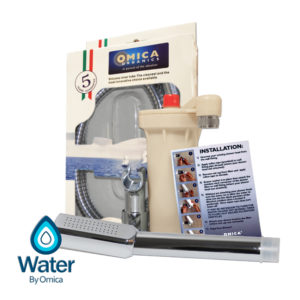 Water By Omica Chrome Handheld Complete Shower Filter System, Chlorine Filtration, Showerhead, Wall Mount, Vortex Hose