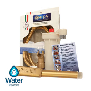 Water By Omica Solid Brass Handheld Complete Shower Filter System, Chlorine Filtration, Showerhead, Wall Mount, Vortex Hose