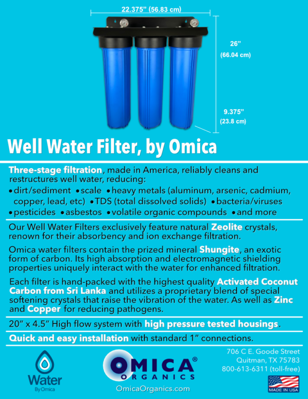 Water By Omica Well Water Filter Spec Flyer