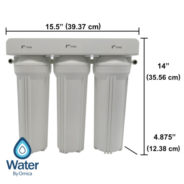 Water By Omica 3-Stage Drinking Water Filter System Dimensions