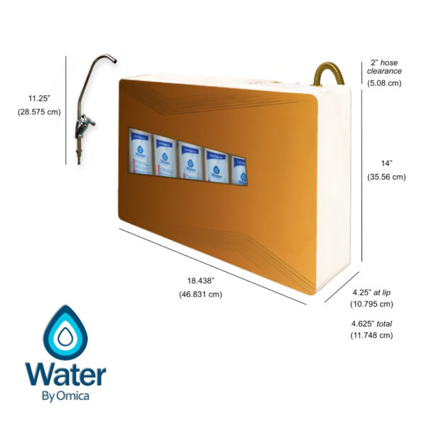 Water by Omica 12 Stage Countertop Reverse Osmosis RO Home Water Filter System with Size Dimensions