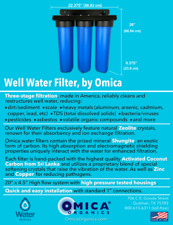 Water By Omica Well Water Filter Spec Flyer - No Gauges