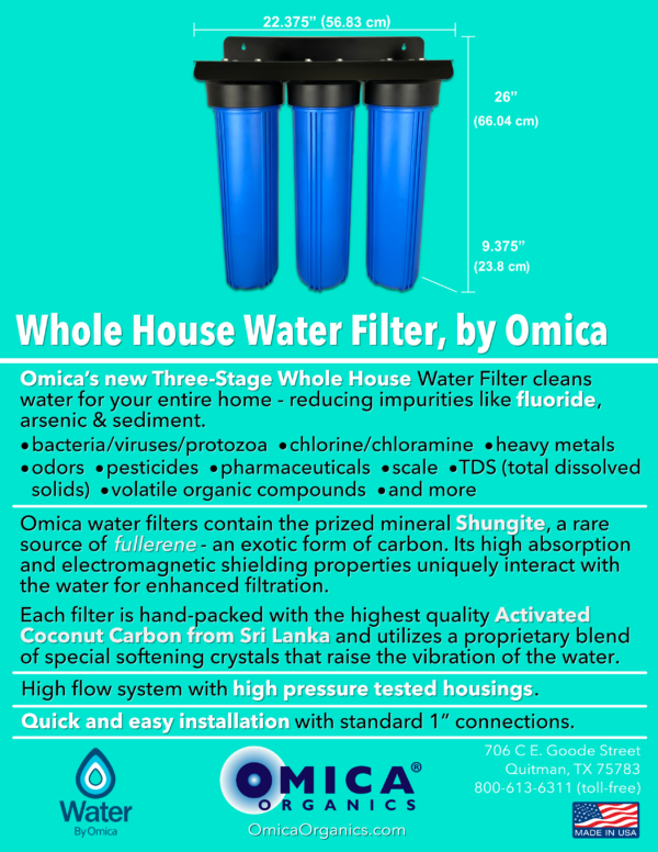 Water By Omica Whole House Water Filter Spec Flyer - No Gauges