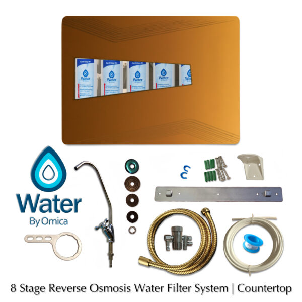 Water by Omica 8 Stage Countertop Reverse Osmosis RO Home Water Filter System Contents